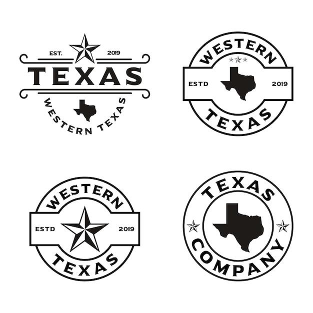 Vintage retro western country emblem texas logo design Premium Vektoren