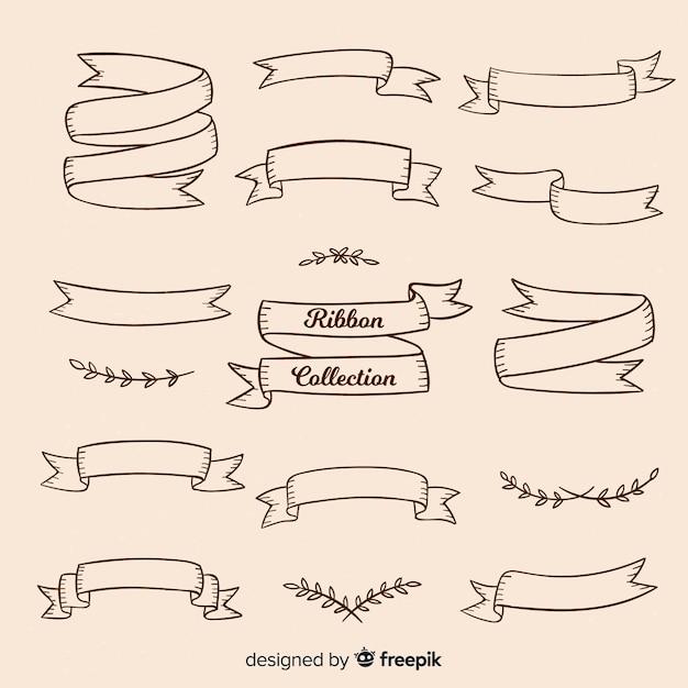 Vintage ribbon-sammlung Kostenlosen Vektoren