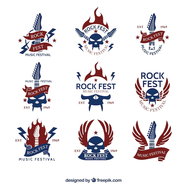 Vintage rock-logo-sammlung Kostenlosen Vektoren