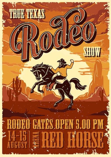 Vintage rodeo-werbeplakatschablone Kostenlosen Vektoren