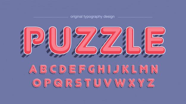 Vintage rote gestreifte schatten-typografie Premium Vektoren