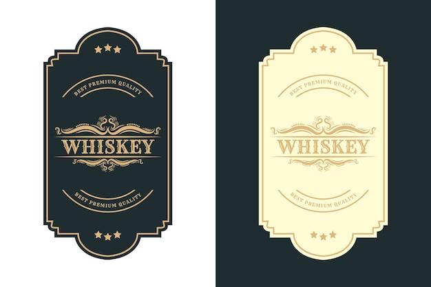 Vintage royal luxusrahmen logo label für bier whisky alkohol und getränke flaschenetiketten Premium Vektoren
