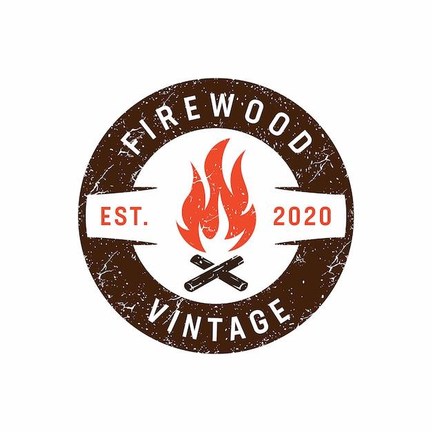 Vintage rustikale lagerfeuer-logo-vorlage Premium Vektoren