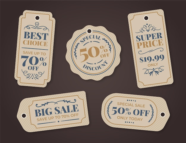 Vintage sale tags set Kostenlosen Vektoren