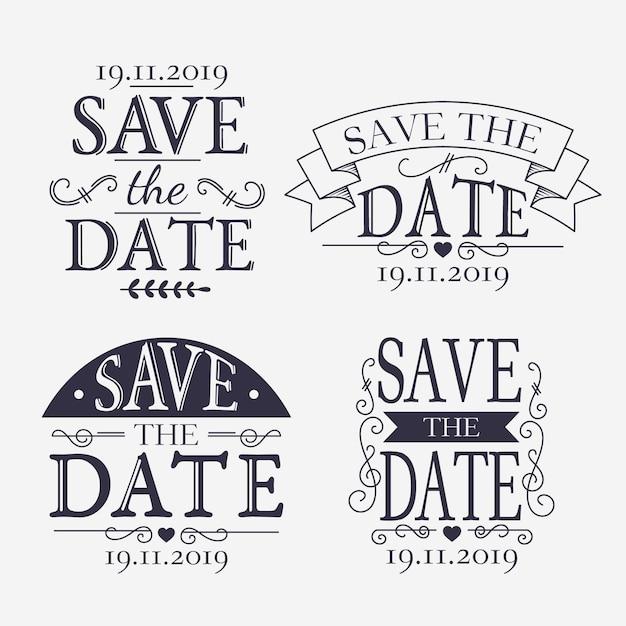 Vintage save the date schriftzug sammlung Kostenlosen Vektoren