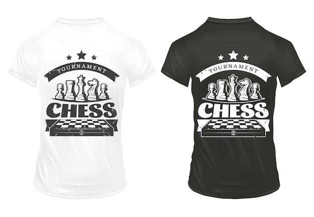 Vintage schachdrucke auf hemden vorlage Kostenlosen Vektoren
