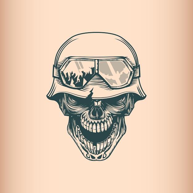 Vintage schädel soldat im helm Premium Vektoren