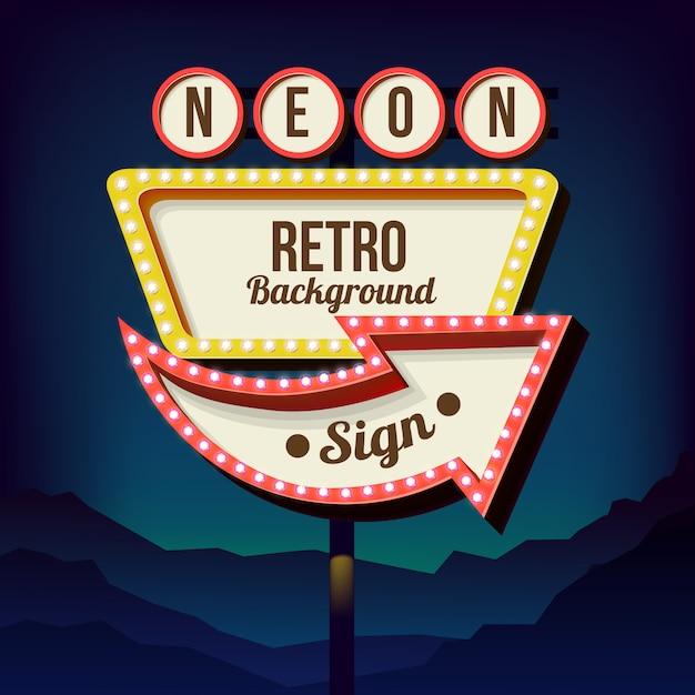 Vintage schild mit lichtern. schild am straßenrand. road roten und gelben schild aus den 50er jahren. retro plakatwand mit lampen Premium Vektoren
