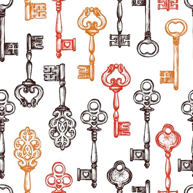 Vintage schlüssel nahtlose muster Kostenlosen Vektoren