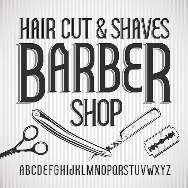 Vintage schrift barbershop. Premium Vektoren