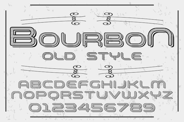 Vintage schrift label design bourbon Premium Vektoren
