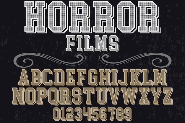 Vintage schriftart typografie alphabet mit zahlen horrorfilme Premium Vektoren