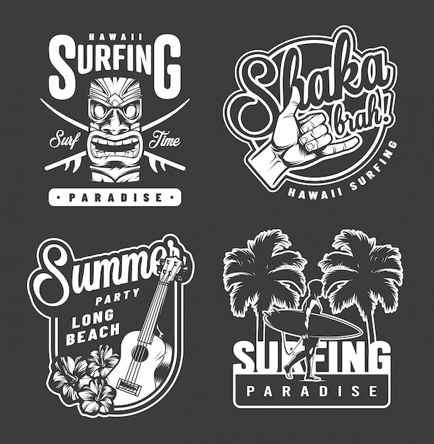 Vintage sommer surfen monochrome drucke Kostenlosen Vektoren