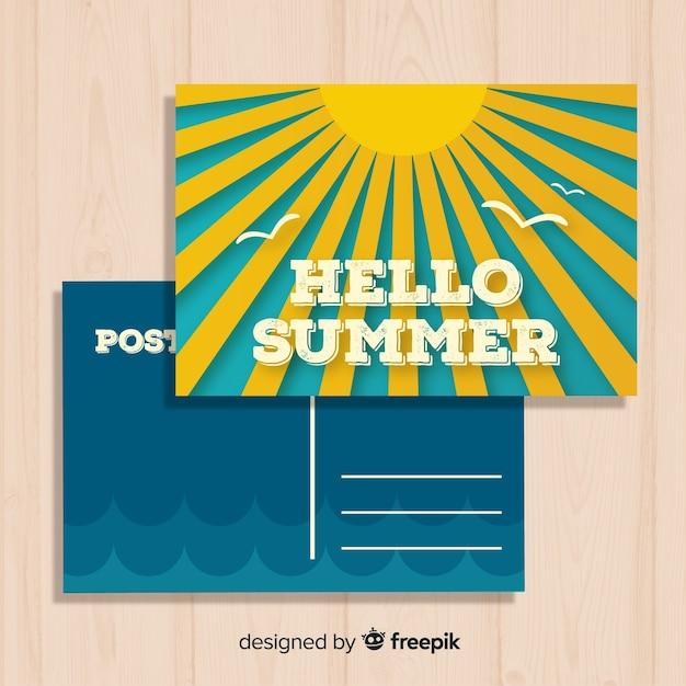 Vintage sommerferien postkarte vorlage Kostenlosen Vektoren