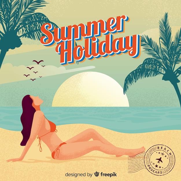 Vintage sommerferienpostkarte Kostenlosen Vektoren