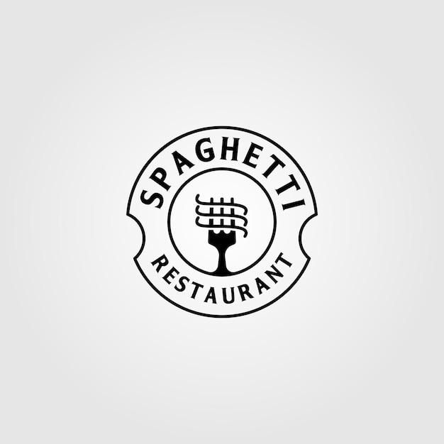 Vintage spaghetti pasta instant nudel logo Premium Vektoren