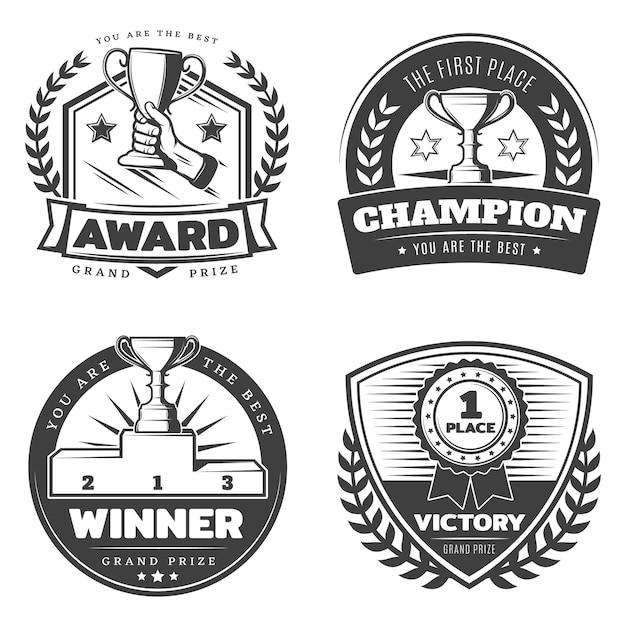 Vintage sport prizes abzeichen set Kostenlosen Vektoren