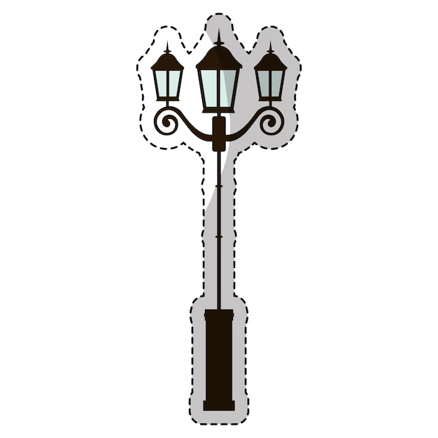 Vintage straßenlampe Premium Vektoren