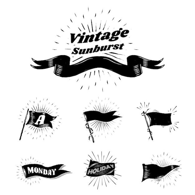 Vintage sunburst-flaggen Kostenlosen Vektoren