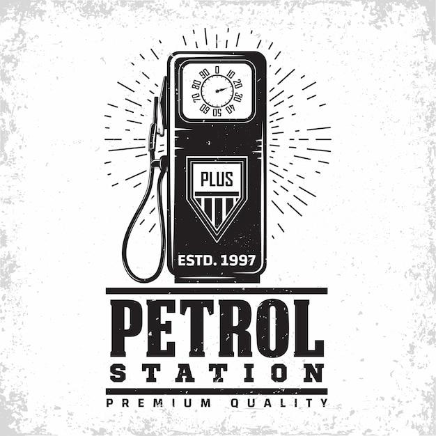 Vintage tankstellenillustration Premium Vektoren