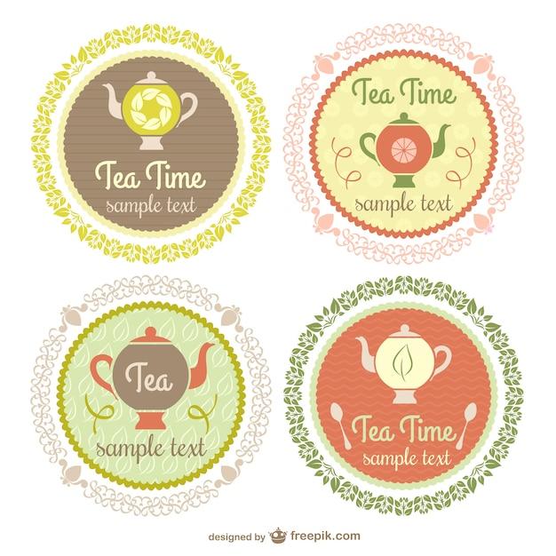 vintage tea time etiketten download der kostenlosen vektor. Black Bedroom Furniture Sets. Home Design Ideas