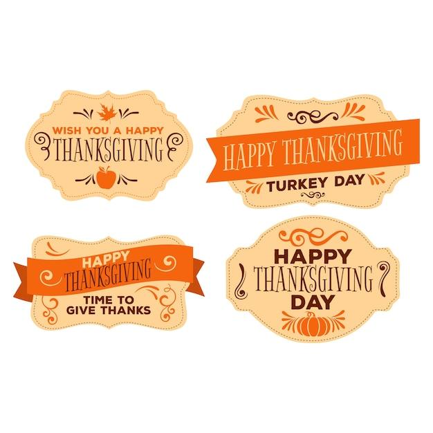Vintage thanksgiving-abzeichen festgelegt Kostenlosen Vektoren