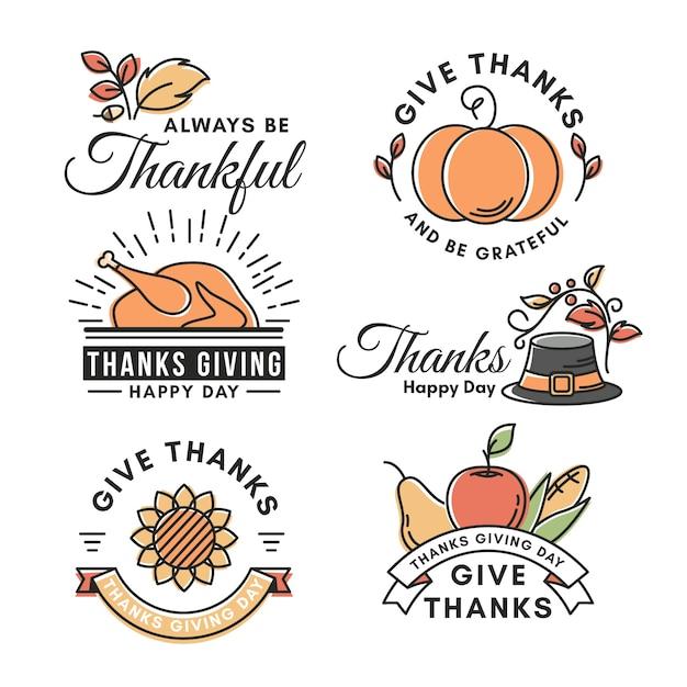 Vintage thanksgiving-label-konzept Kostenlosen Vektoren