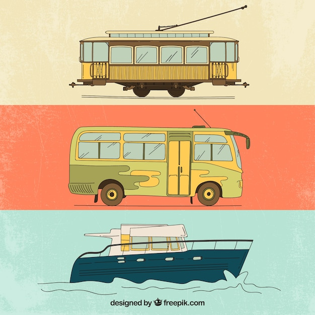 Vintage transportation Kostenlosen Vektoren