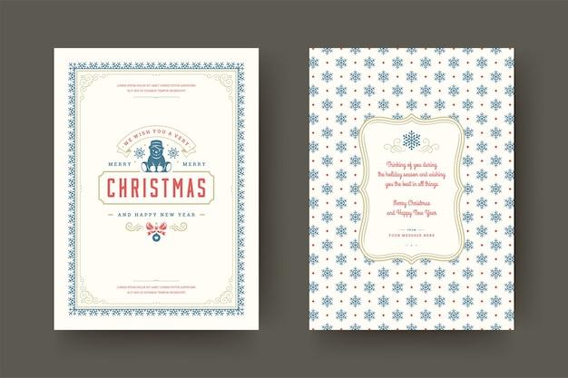 Vintage typografische, verzierte dekorationssymbole der weihnachtsgrußkarte mit winterferienwunsch, verzierungen und rahmen. Premium Vektoren