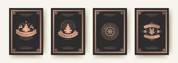 Vintage typografische, verzierte dekorationssymbole der weihnachtsgrußkarten mit winterferienwünschen, blumenverzierungen und schnörkelrahmen. Premium Vektoren