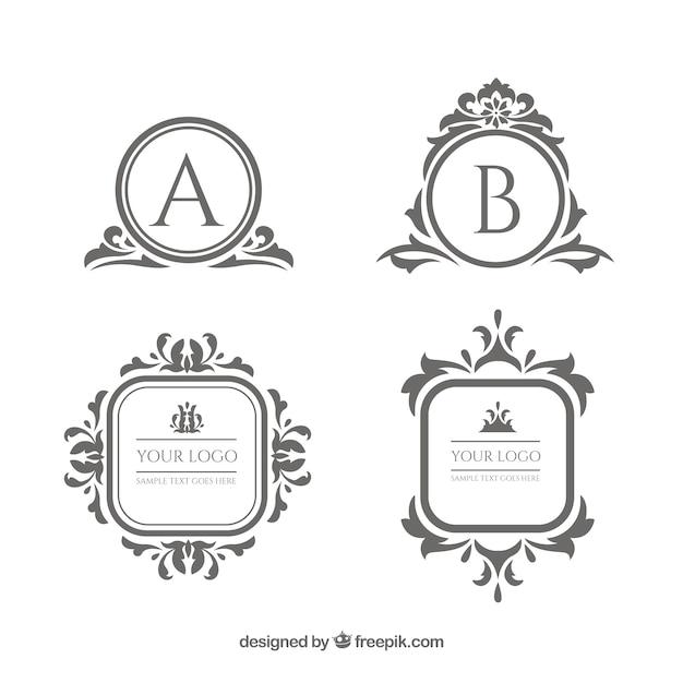Vintage und luxus-logo-vorlage-sammlung Kostenlosen Vektoren
