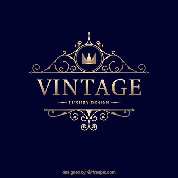 Vintage und luxus-logo-vorlage Kostenlosen Vektoren