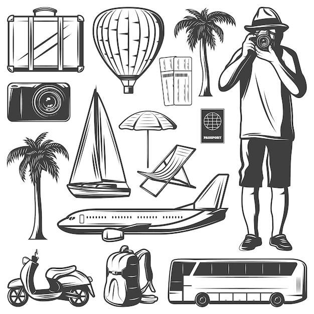 Vintage urlaub und reiseelemente set Kostenlosen Vektoren
