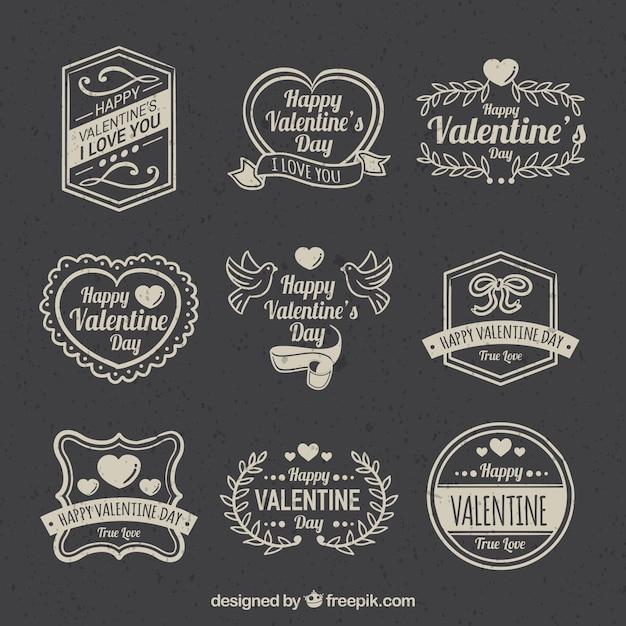 Vintage Valentinstag Label / Abzeichen Sammlung Kostenlose Vektoren