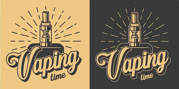 Vintage vaping-logos mit beschriftungen und skeletthand, die vape in der monochromen artillustration halten Kostenlosen Vektoren