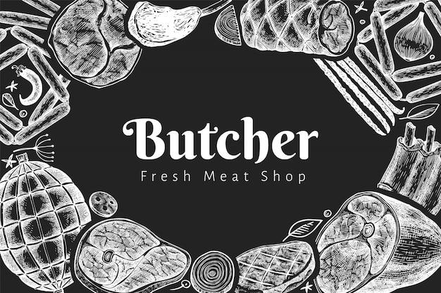 Vintage vektor fleischprodukte design-vorlage. handgezeichneter schinken, würstchen, jamon, gewürze und kräuter. retro-illustration auf kreidetafel. kann für das restaurantmenü verwendet werden. Premium Vektoren