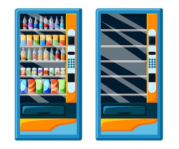 Vintage verkaufsautomaten-werbeplakat mit snacks und getränkeverpackungsset lebensmittel- und getränkeautomaten set stilisierte illustration. website-seite und mobile app Premium Vektoren
