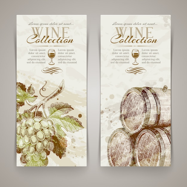 Vintage vertikale banner mit handgezeichneten trauben und fässern Premium Vektoren