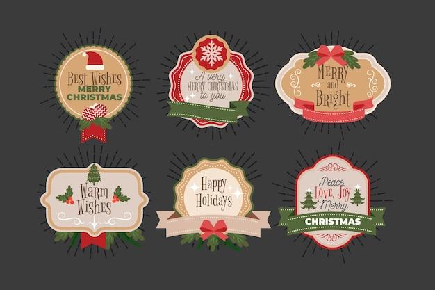 Vintage weihnachtsabzeichen sammlung Kostenlosen Vektoren