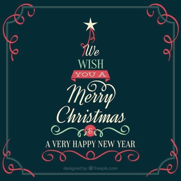 Vintage Weihnachtsbaum-Karte mit Meldung | Download der kostenlosen ...