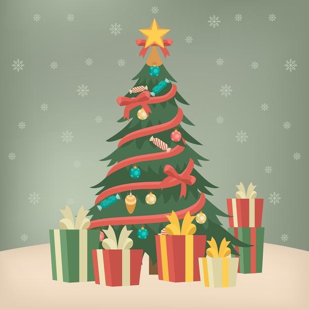 Vintage weihnachtsbaum konzept Kostenlosen Vektoren