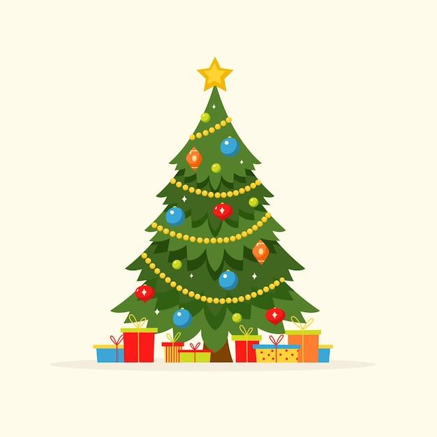 Vintage weihnachtsbaum Premium Vektoren