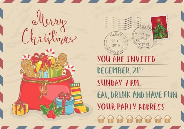 Vintage weihnachtseinladung mit briefmarken Premium Vektoren