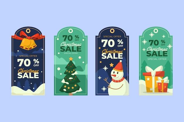 Vintage weihnachtsetikettenkollektion Kostenlosen Vektoren