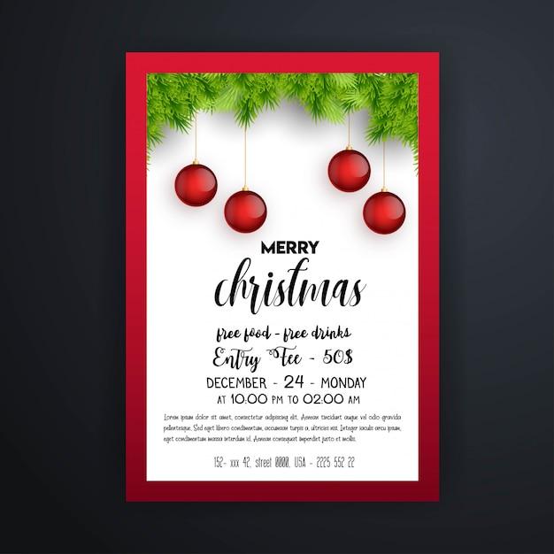 Vintage weihnachtsfeier flyer vorlage Premium Vektoren