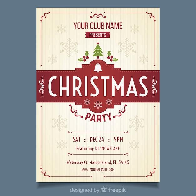 Vorlage Weihnachtsfeier.Vintage Weihnachtsfeier Flyer Vorlage Download Der Kostenlosen Vektor