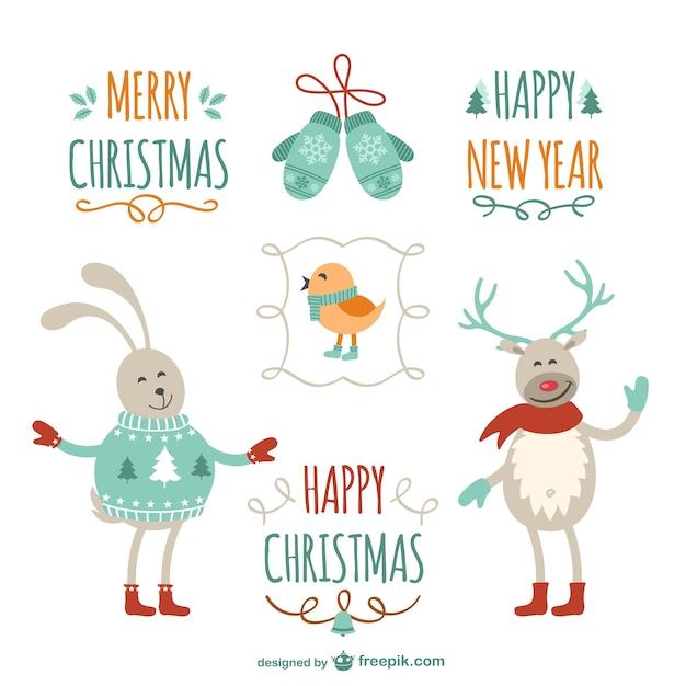 Vintage Weihnachtsgrüße mit Cartoons | Download der kostenlosen Vektor