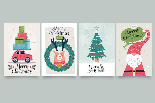 Vintage weihnachtskarten Premium Vektoren