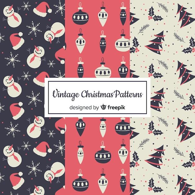 Vintage weihnachtsmuster sammlung Kostenlosen Vektoren