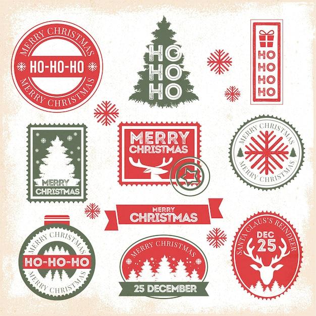 Vintage weihnachtsstempelsammlung Kostenlosen Vektoren